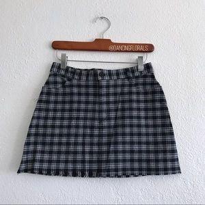 Brandy Melville Juliette navy plaid skirt